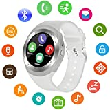SEPVER SN05 Round Bluetooth Smart Watch with SIM Card TF Card Slot Sync Calls, Messages and Notifications for Android Smart Phone, Smart watches for Kids Women Men Boys Girls (White)