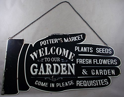 - Large Metal WELCOME TO OUR GARDEN Sign