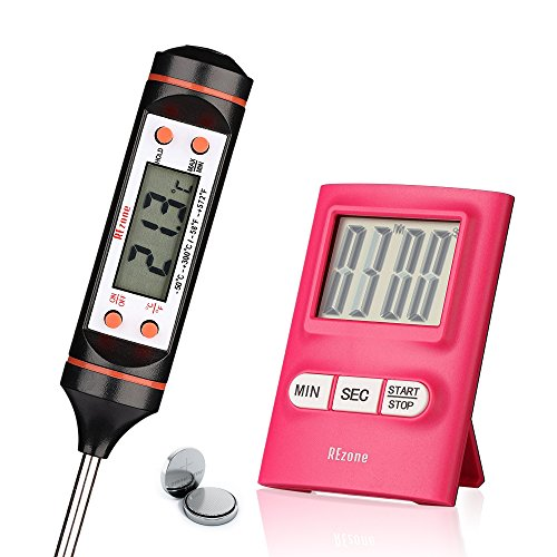 Meat Thermometer and Kitchen Timer (2 in 1) Safe Instant Read Probe - Ideal for BBQ, Grill, Candy, Oil + Digital Timer