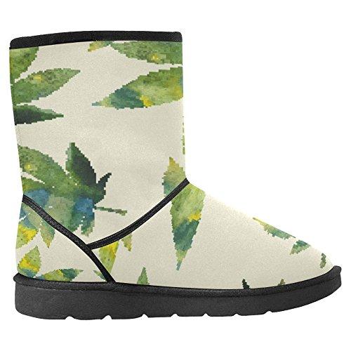 InterestPrint Womens Snow Boots Unique Designed Comfort Winter Boots Cannabis Leaves Multi 1 Rbv8Eli