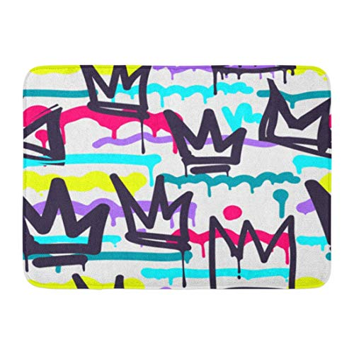 YGUII Doormats Bath Rugs Green Pattern Tags Black and White Graffiti in Hip Hop Street Skateboard Crown Bathroom Decor Rug 16X23.6in (40x60cm)