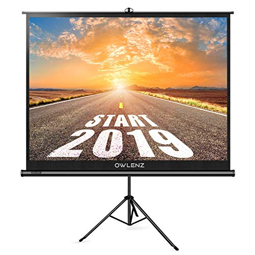 (The First Projector Screen with Stand Green Environmental, OWLENZ Indoor and Outdoor Movie Screen 100 Inch Diagonal 4:3 with Premium Wrinkle-Free Design (Easy to Clean, 1.1 Gain, 160° Viewing Angle))