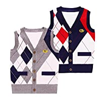 Happy childhood Toddler Boys School Uniform V Neck Cardigans Sweater Vest Block Plaid Grey/Navy (Grey, Size 140: 6-7 Years)