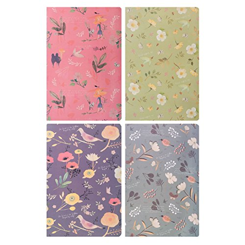 Lined Journal Notebook Dairy Book Journal Record A5 Flowers Softcover Composition Book, Pack of ()