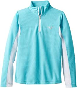 TuffRider Children's Ventilated Technical Long Sleeve Sport Shirt with Mesh, Aqua, Small
