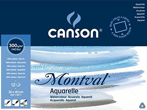 """Canson 200006533 AQ Montval fein Aquarelle, 300 g/qm, 12 Blatt pro Block """"rundum geleimt"""", 19 x 24 cm, weiß weiß"""