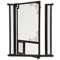 "Deluxe 42 Inch Tall Safety Gate - Pressure Mounted - Steel Walk-Thru With cat Door, Indoor Mesh Style - Use in Doorway or Stairway - Width Is Adjustable 36.5"" - 39.5"" – Extensions Gates Available"