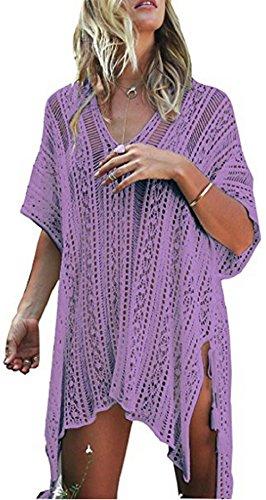 Couvrir Court 2018 Crochet De Bikini Bain Plage Été Tops Net Femmes Violet Robes Agogo Maillots Tricoté Chemisier HxdqzCWPw