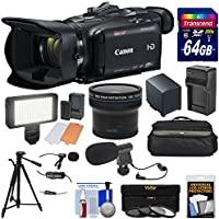 Canon Vixia HF G40 Wi-Fi 1080p HD Digital Video Camcorder + 64GB Card + Battery & Charger + Case + LED Light + 2 Microphones + Tripod + Fisheye Lens Kit