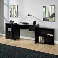 3-Piece Office Set, Black, Matching Bookcases, Desk and Cabinet, Elegant Black Finish, Easily Adjusted Shelves, Two Open Compartments, Spacious File Drawer, Comfortable, Workplace