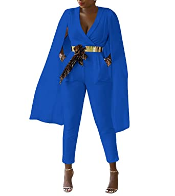 826a607d4a Indistyle Women s Elegant Long Sleeves High Waist V Neck Cape Jumpsuit Long  Pants Rompers with Pockets