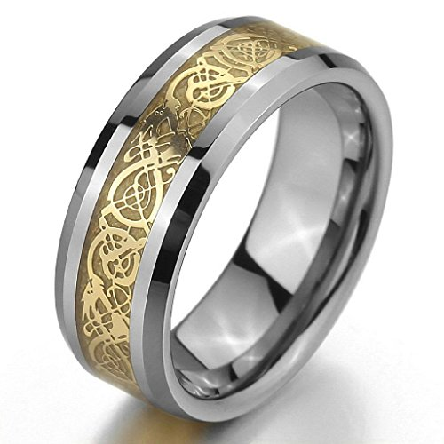 Costumes Couples Buzzfeed (Epinki,Fashion Jewelry Men's Tungsten Rings Band Silver Gold Irish Celtic Knot Dragon Vintage Wedding Size)
