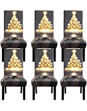 Fuloon 4 6 Pack Super Fit Stretch Removable Washable Short Dining Chair Protector Cover Seat Slipcover for Hotel Dining Room Ceremony Banquet Wedding Party