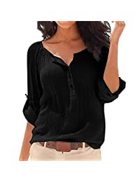 SUNNOW New Sexy Women's V-Neck Long Sleeve Cotton Loose T-shirt Blouse Top