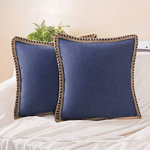 Phantoscope Pack of 2 Farmhouse Burlap Linen Trimmed Tailored Edges Throw Pillow Case Cushion Covers Navy Blue 18