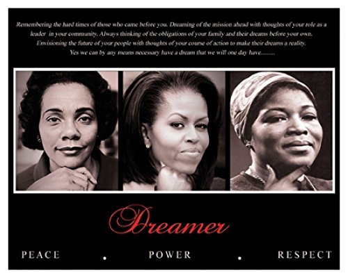- Dreamer (Trio): Peace, Power, Respect Art Poster Print (Overall Size: 10x8) (Image Size: 9.5x7.5)  King  Obama  Shabazz