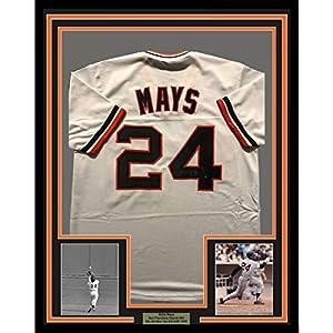 Framed-AutographedSigned-Willie-Mays-33x42-San-Francisco-White-Baseball-Jersey-Say-Hey-Hologram-COA