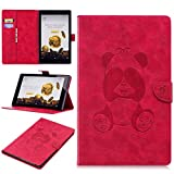 All-New Amazon Fire HD 10 Tablet Case (7th Generation, 2017 Release), Love Sound Panda Embossed PU Leather Stand Folio Protective Cover with Auto Sleep / Wake for Amazon Fire HD 10.1'' Tablet, Rose Red