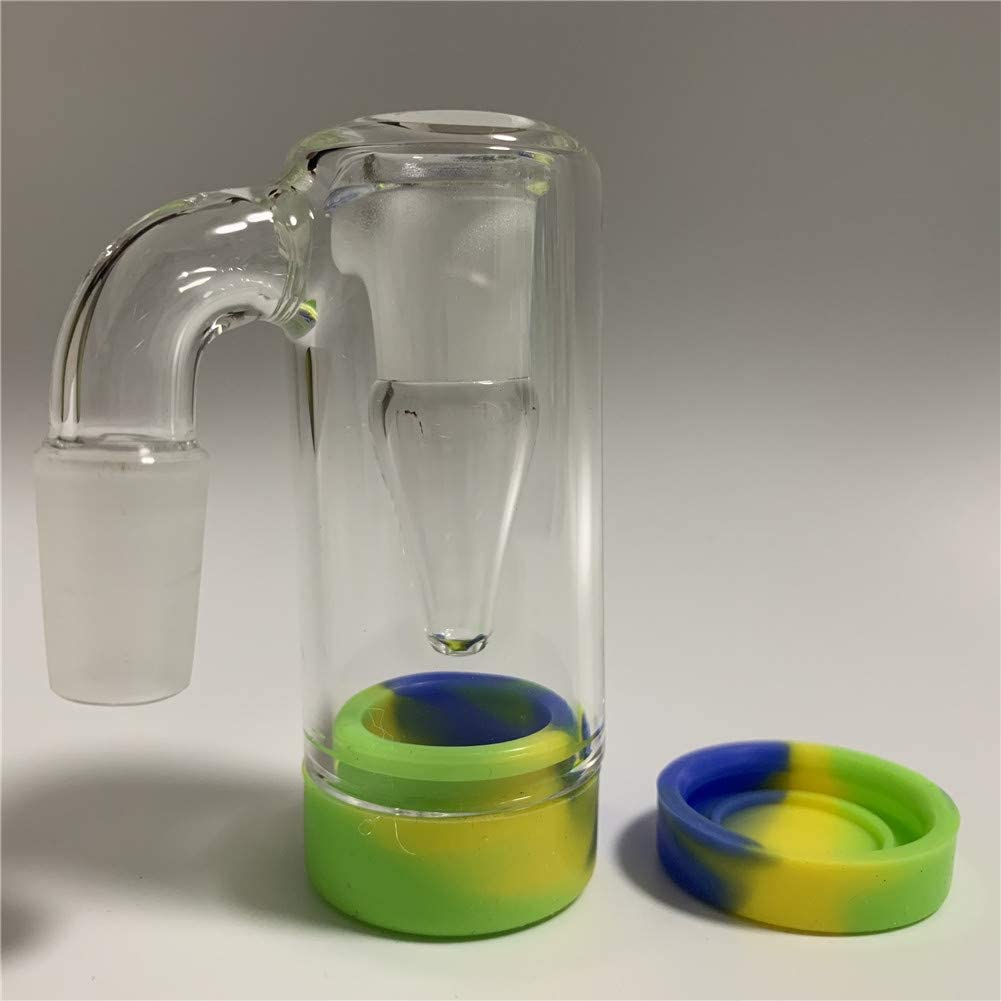 Can be reused 14mm Glass Collector and Silicone Container (14mm White) (Green Blue)