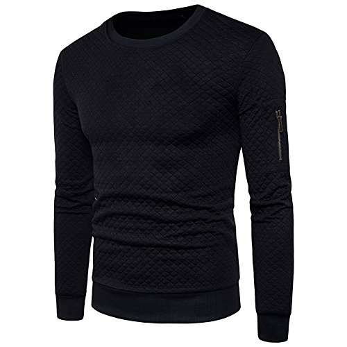 WULFUL Men's Crewneck Sweatshirt Long Sleeve Stylish Square Quilted Design (Squares Pullover)