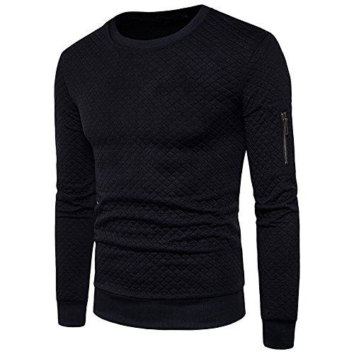 - WULFUL Men's Crewneck Sweatshirt Long Sleeve Stylish Square Quilted Design