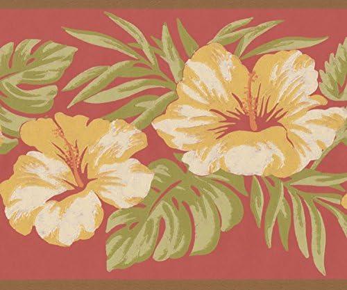 """デザインロール15 'x 7 """" による黄色の花のバラのヴィンテージ花の壁紙のボーダーペイント"""
