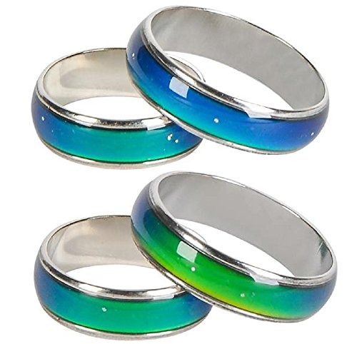 Changing Colors Mood Ring 12 PC Display Box Party Favor Unisex Metal Ring