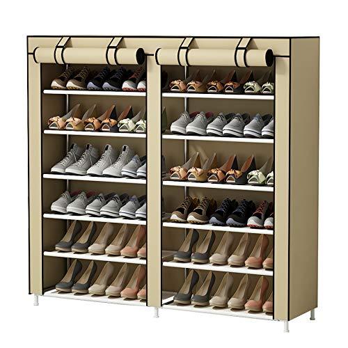 UDEAR-Shoes-Rack-Organizador-de-Tela-de-Zapatos-Zapatero-7-Pisos-con-Resistente-al-Polvo-Vestido-Cubierto-Beige