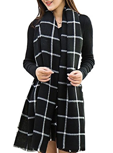 YAOSEN Women Black and White Plaid Scarf Classic Shawl Imitation Cashmere Scarf (Scarf Wool White)