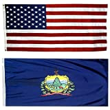 US Flag with Vermont State Flag 3 x 5 - 100% American Made - Nylon