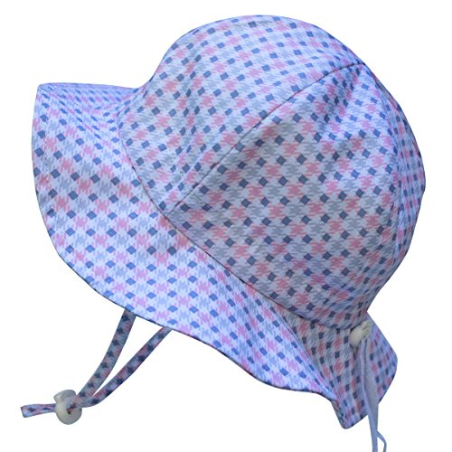 baby-sun-hat-with-chin-strap-drawstring-adjust-head-size-breathable-50-upf-s-0-9m-pink-plaid-