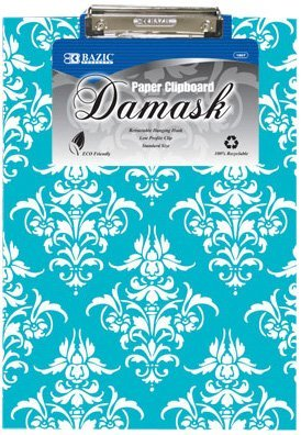 BAZIC Standard Size Damask Paperboard Clipboard w/ Low Profile Clip by Bazic by Bazic