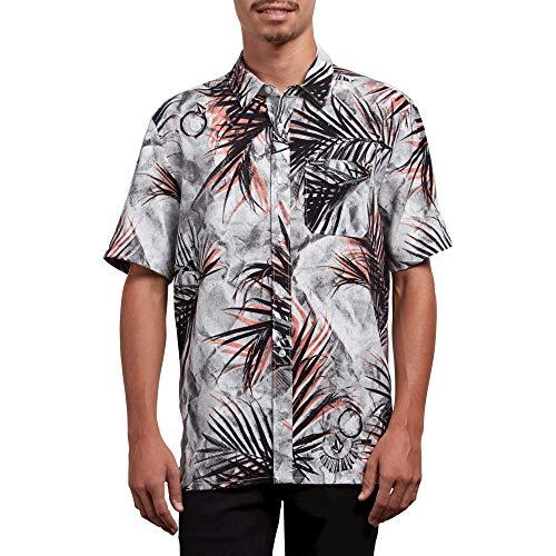 Volcom Men's More Something Short Sleeve Button up Woven Shirt, White, (Button Up Woven Sport Shirt)