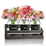 3-pc Mason Jar Flower Caddies -Vintage Clear Glass Utensil Organizer with Black Chalk Label on Wooden Caddy - Lightweight Space-Saver Home and Party Drinkware Set
