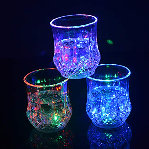 Sets of 3 Cups LED Automatic Flashing Cup - with Mug Sensor Light Up, Liquid Activated Color Change, Flashing LED Light Cup for Christmas, Party, Night Clubbing, Birthday, Disco Party -