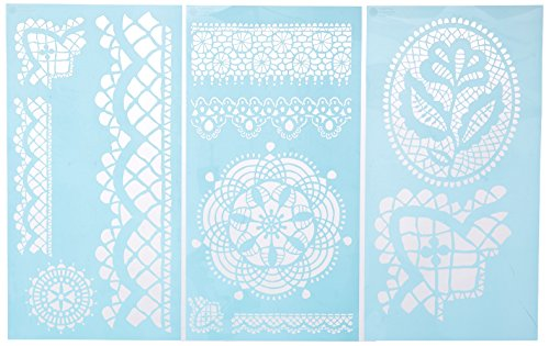 Lace Stencil - Martha Stewart Crafts Large Stencils (8.75 by 16.75-Inch), 32265 Cathedral Lace (3 Sheets with 11 Designs)