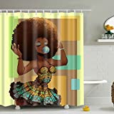 Cute Bathroom Sets Messagee Custom Waterproof Bathroom African Woman Shower Curtain Polyester Fabric Shower Curtain Size 72 X 72