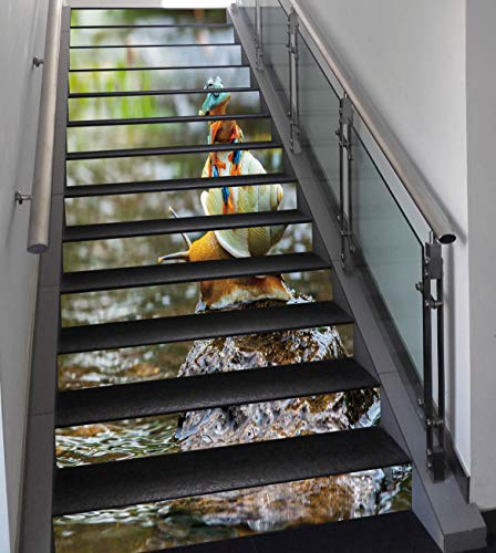 Stair Stickers Wall Stickers,13 PCS Self-adhesive,Funny,Cute Colorful Frog Above the Snail Riverscape Water Rock Mollusks Amphibian Animals,Multicolor,Stair Riser Decal for Living Room, Hall, Kids Roo