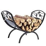 Decorative Metal Leaf & Vine Design Hearthside Firewood Log Storage Rack Holder