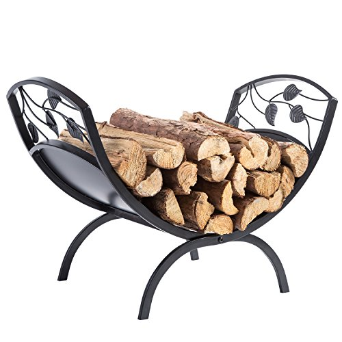 Firewood Designs Rack (Decorative Metal Leaf & Vine Design Hearthside Firewood Log Storage Rack Holder)