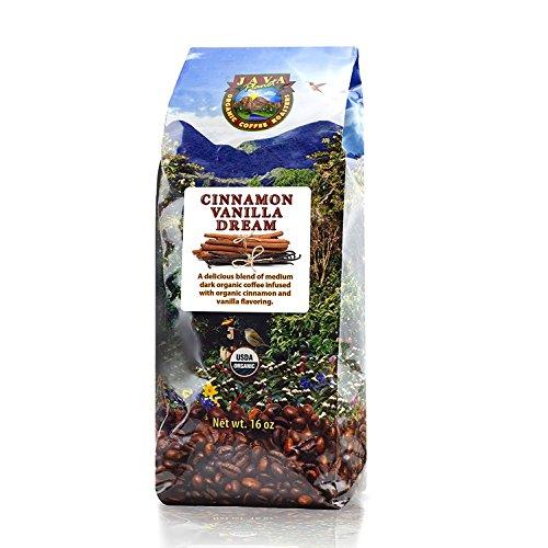 Java Planet - Flavored Coffee Beans, Organic Coffee infused with Organic Cinnamon and Vanilla flavoring, Fair Trade, Medium Dark Roast, Arabica Gourmet Coffee Grade A, packaged in 1 LB bag - Cinnamon Roasted Coffee