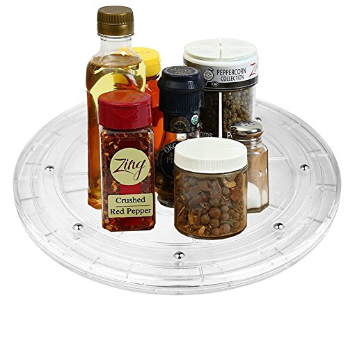 iSKUKA 8'' Spice Organizer 360°Swivels Turntable Lazy Susan for Kitchen Pantry (8 inch) ()