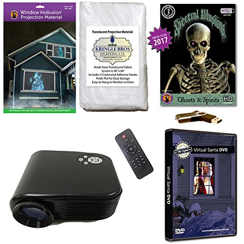 Christmas and Halloween Digital Decoration Kit includes 800 x 480 Resolution Projector, Hollusion (W) + Reaper Bros Rear Projection Screens, Santa in Window and Ghosts & (Halloween Projector Ghost)