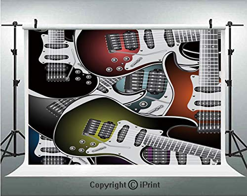 (Popstar Party Photography Backdrops Pile of Graphic Colorful Electric Guitars Rock Music Stringed Instruments Decorative,Birthday Party Background Customized Microfiber Photo Studio Props,10x10ft,Mult)