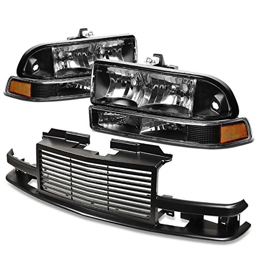 For Chevy S10/Blazer GMT 325/330 Headlight (Black Housing Amber Reflector)+Front Grille (Black)