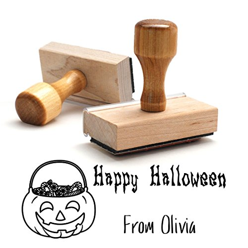 Wooden Handle Stamp Happy Halloween Pumpkin From Stamper. Great for Halloween Cards, Treat Bag Naming, Birthday Gifts, October Wedding Gift Naming, Present Label 2 Lines = 3/4 X 1 7/8 Inches