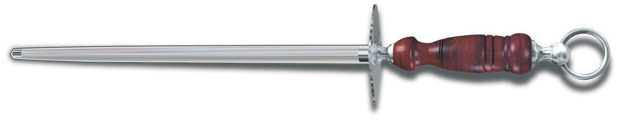 Victorinox Honing Steel 12-Inch Round Fine Cut, Dark Wood Handle by Victorinox