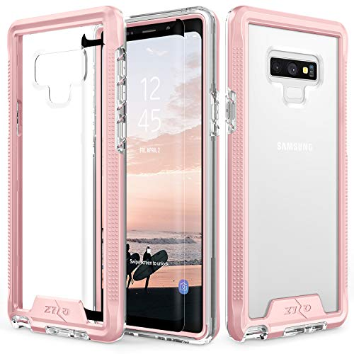 Zizo ION Series Compatible with Samsung Galaxy Note 9 Case Military Grade Drop Tested with Tempered Glass Screen Protector Rose Gold Clear