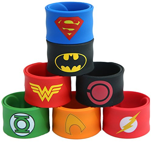 Justice League Superhero Slap Bracelet for Kids Boys & Girls Birthday Party Supplies Favors (7 Pack Assorted -