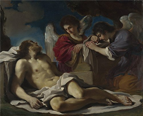 High Quality Polyster Canvas ,the Replica Art DecorativePrints On Canvas Of Oil Painting 'Guercino The Dead Christ Mourned By Two Angels ', 12 X 15 Inch / 30 X 37 (Computer Virus Costume)